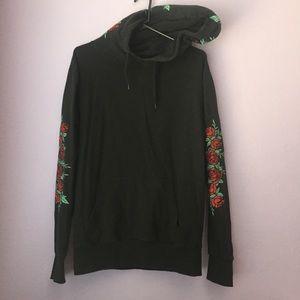 Black Embroidered Rose Hoodie